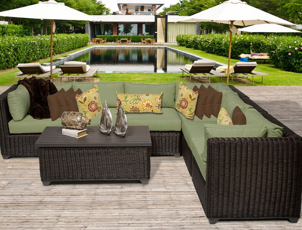 Eldredge 7 Piece Sectional Set with Cushions Color: Cilantro