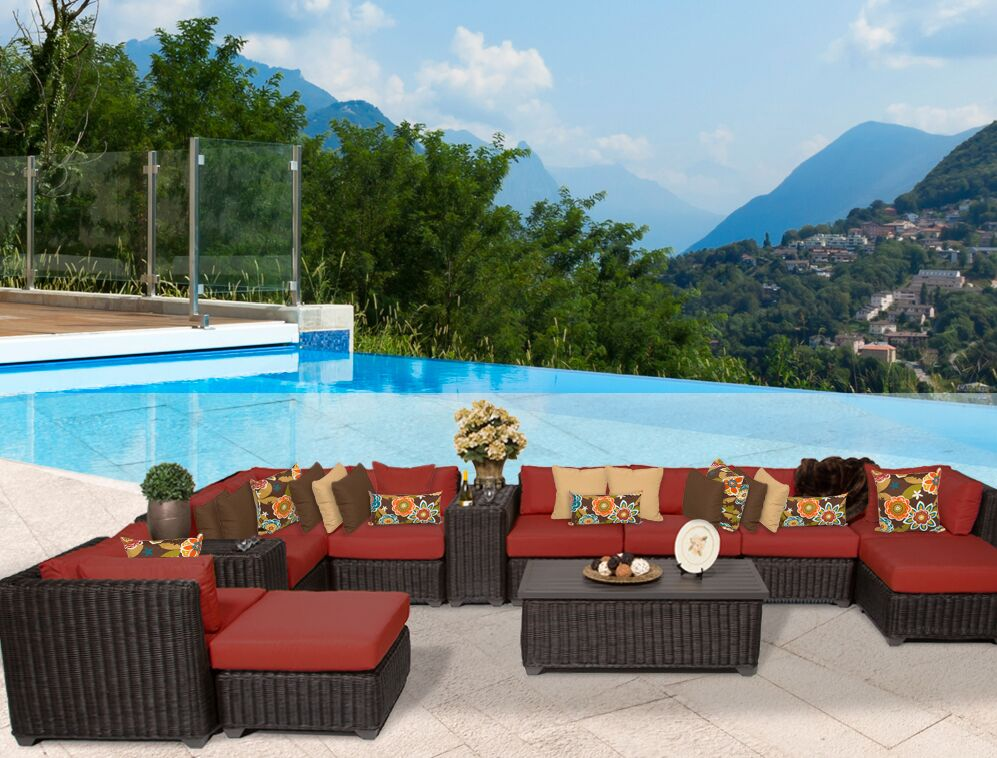 Eldredge 13 Piece Sectional Set with Cushions Color: Terracotta