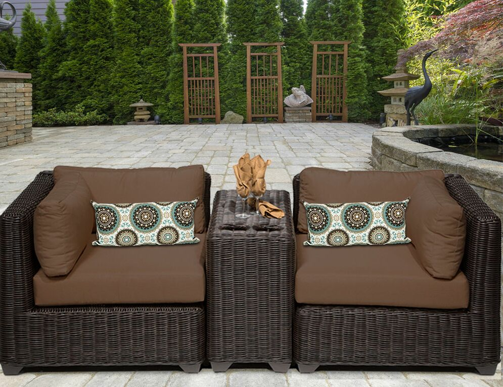 Eldredge 3 Piece Conversation Set with Cushions Color: Cocoa