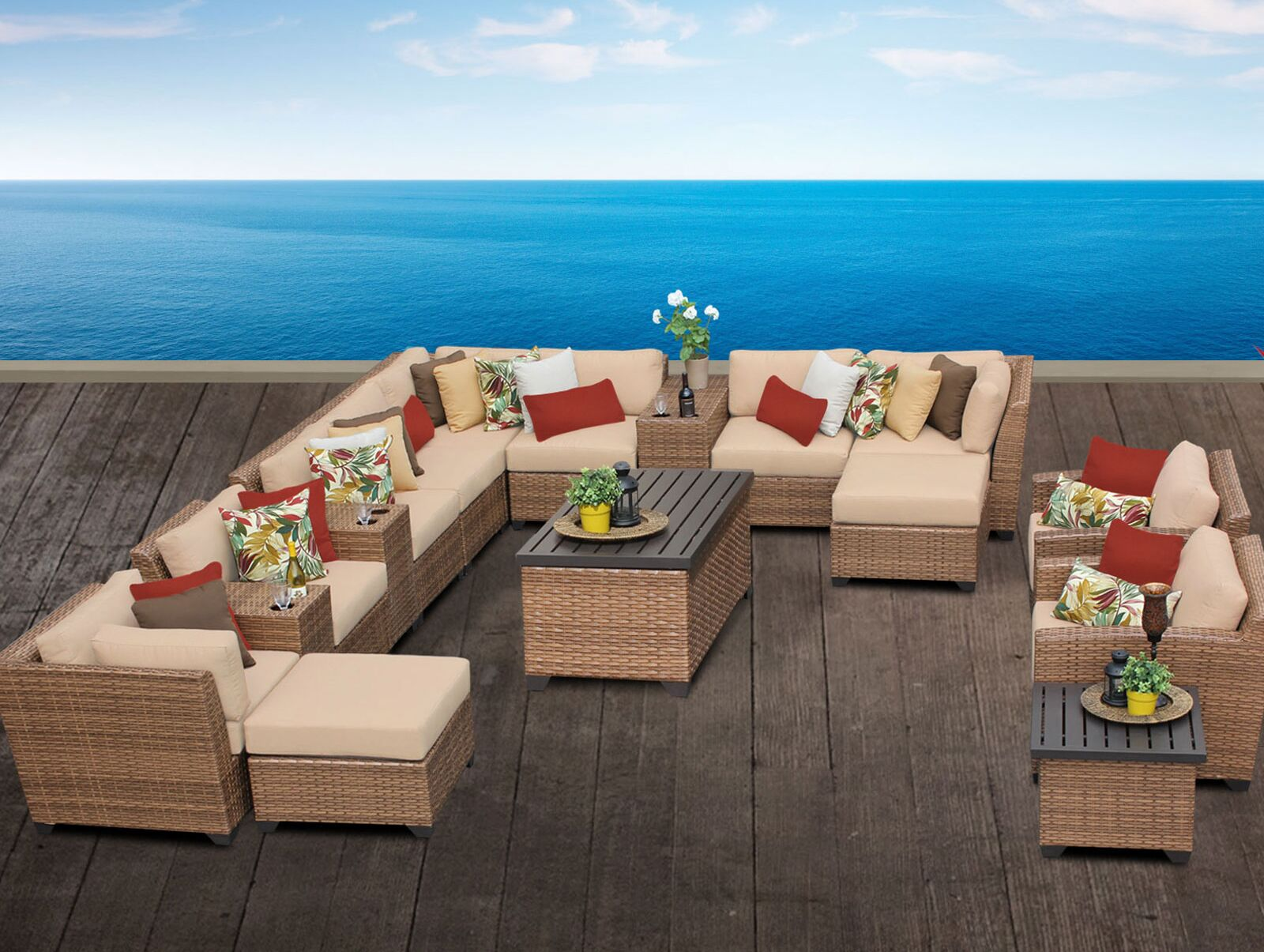 East Village 17 Piece Sectional Set with Cushions Color: Wheat