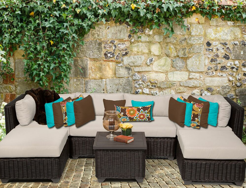Eldredge 7 Piece Sectional Set with Cushions Color: Beige