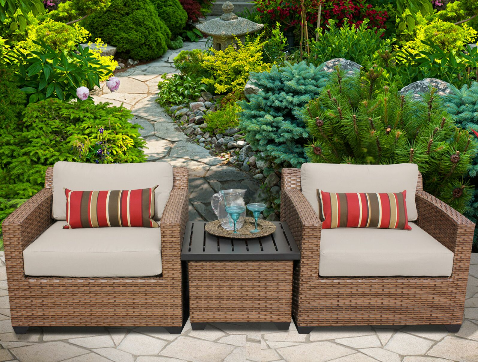 East Village 3 Piece Rattan Sectional Set with Cushions Color: Beige