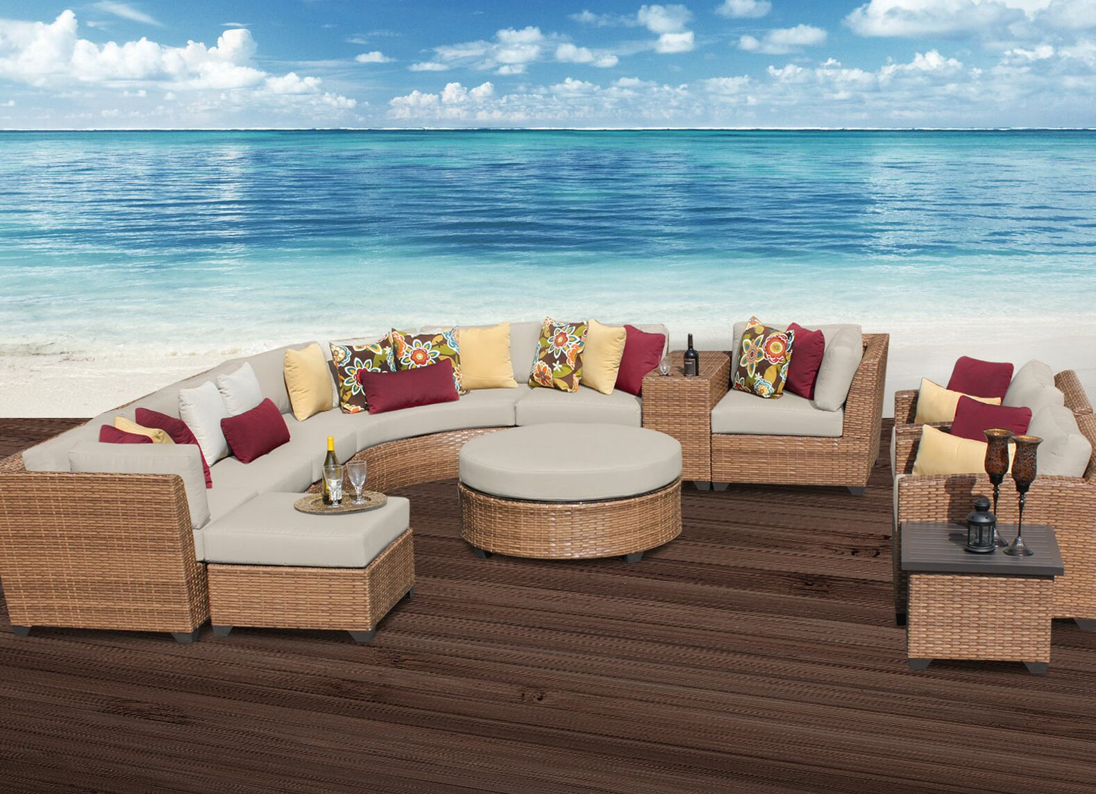 East Village 12 Piece Rattan Sectional Set with Cushions Color: Beige