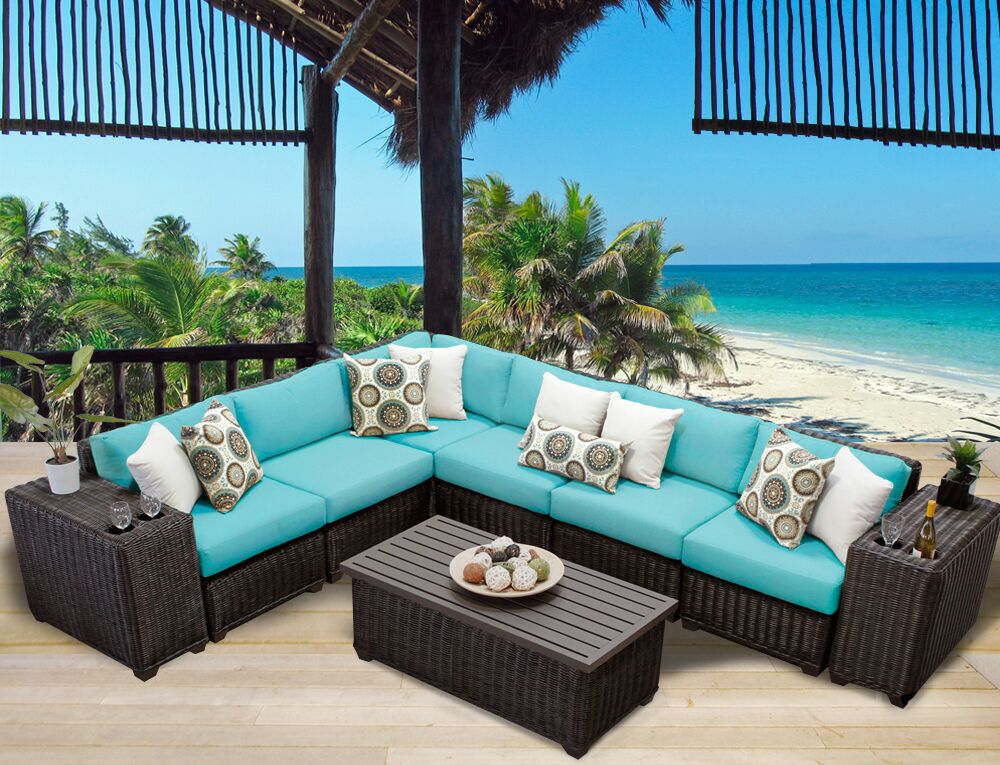 Eldredge 9 Piece Sectional Set with Cushions Color: Aruba