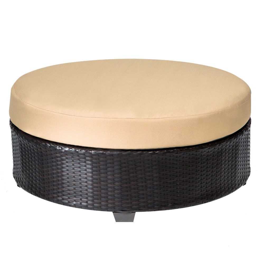 Barbados Round Coffee Table with Cushion Color: Sesame