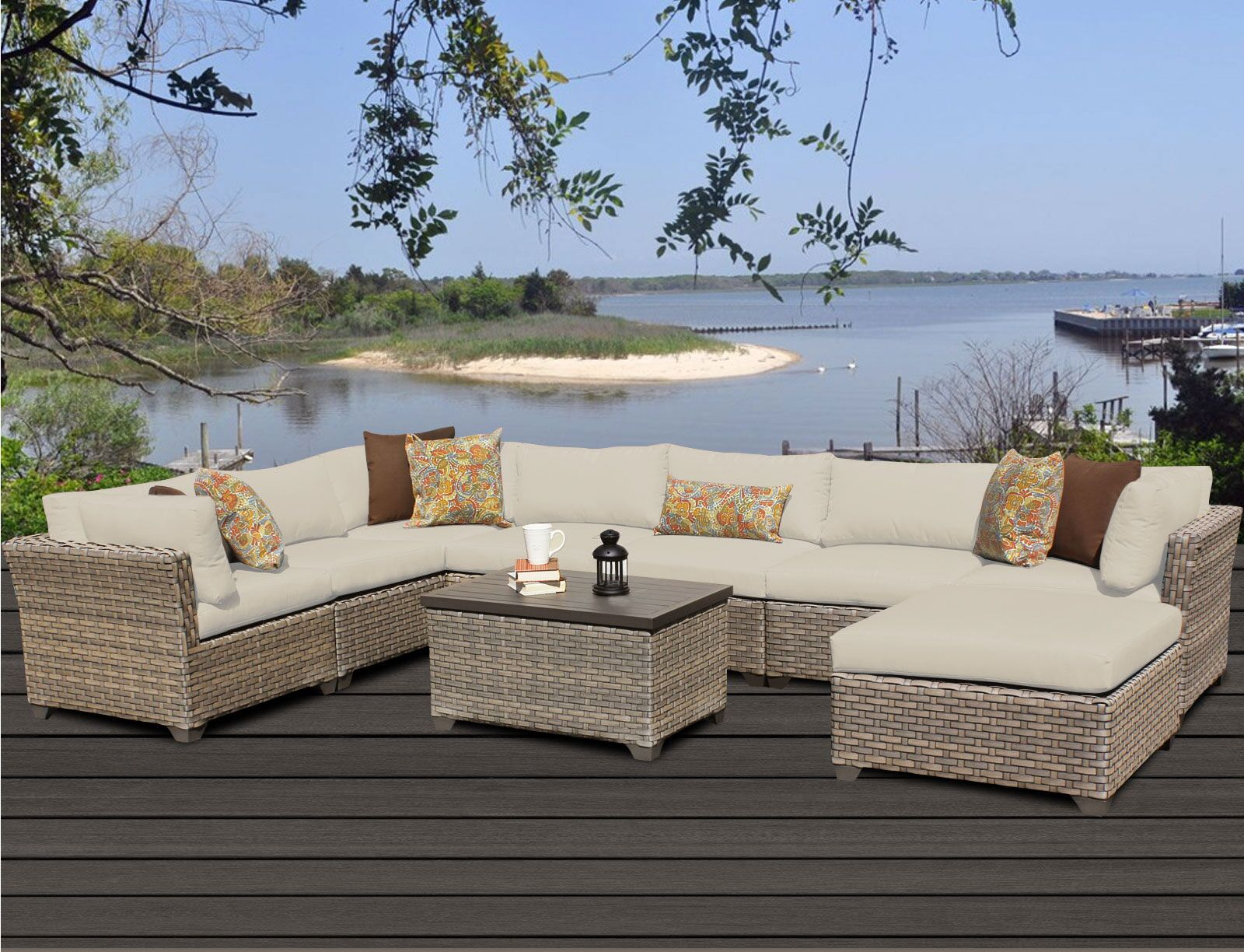 Monterey 9 Piece Sectional Set with Cushions Fabric: Beige