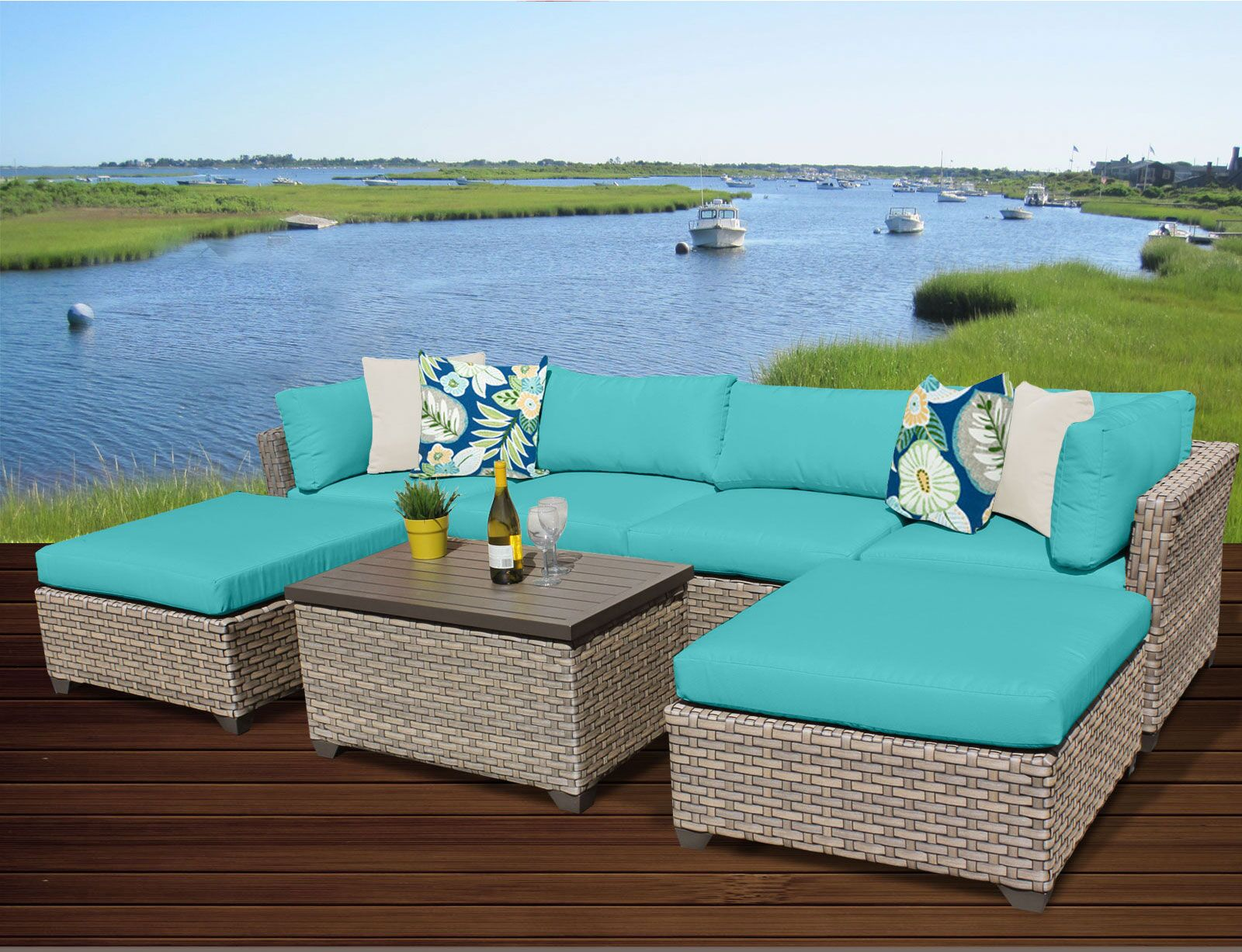 Monterey 7 Piece Sectional Set with Cushions Fabric: Aruba