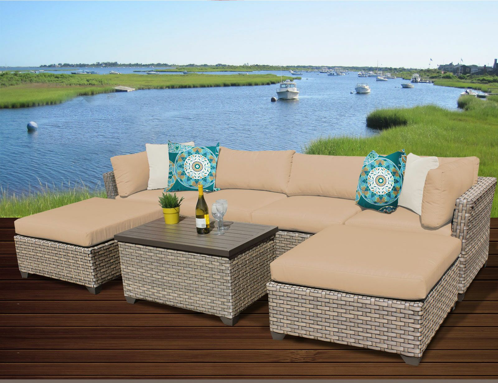 Monterey 7 Piece Sectional Set with Cushions Fabric: Wheat