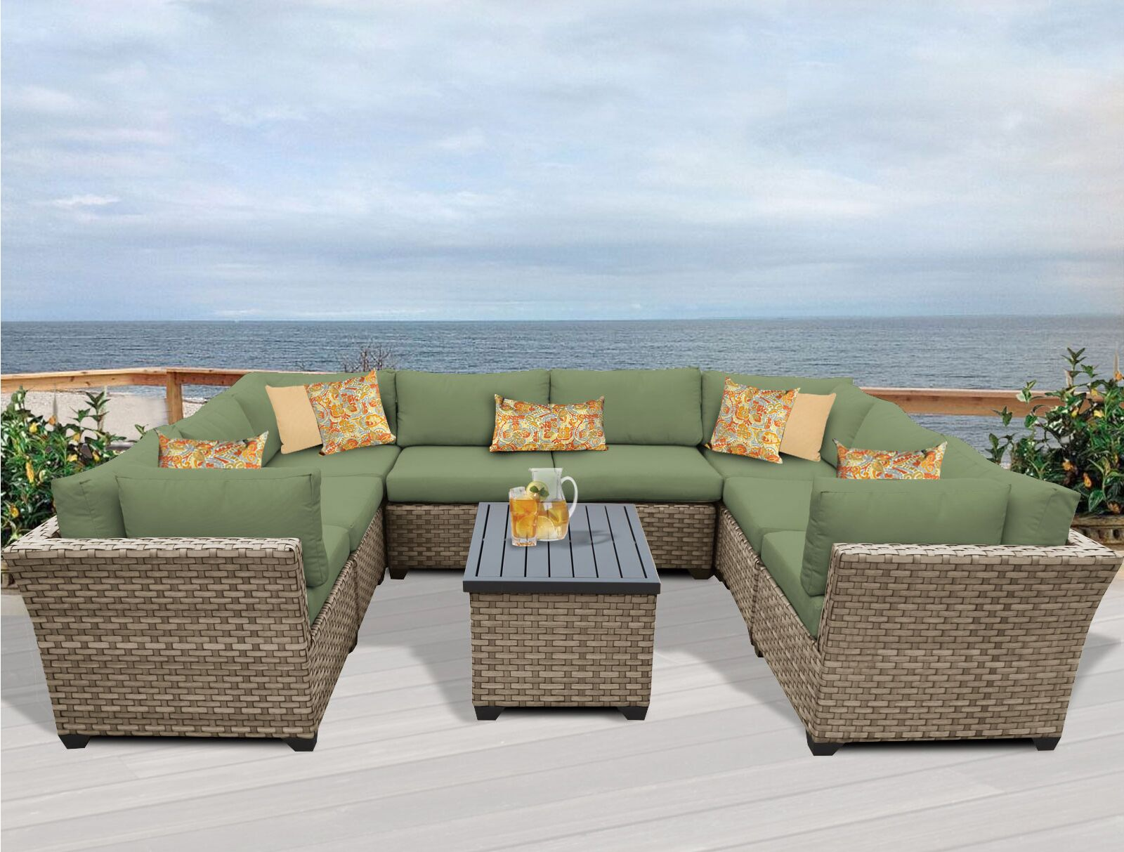 Monterey 9 Piece Sectional Set with Cushions Fabric: Cilantro