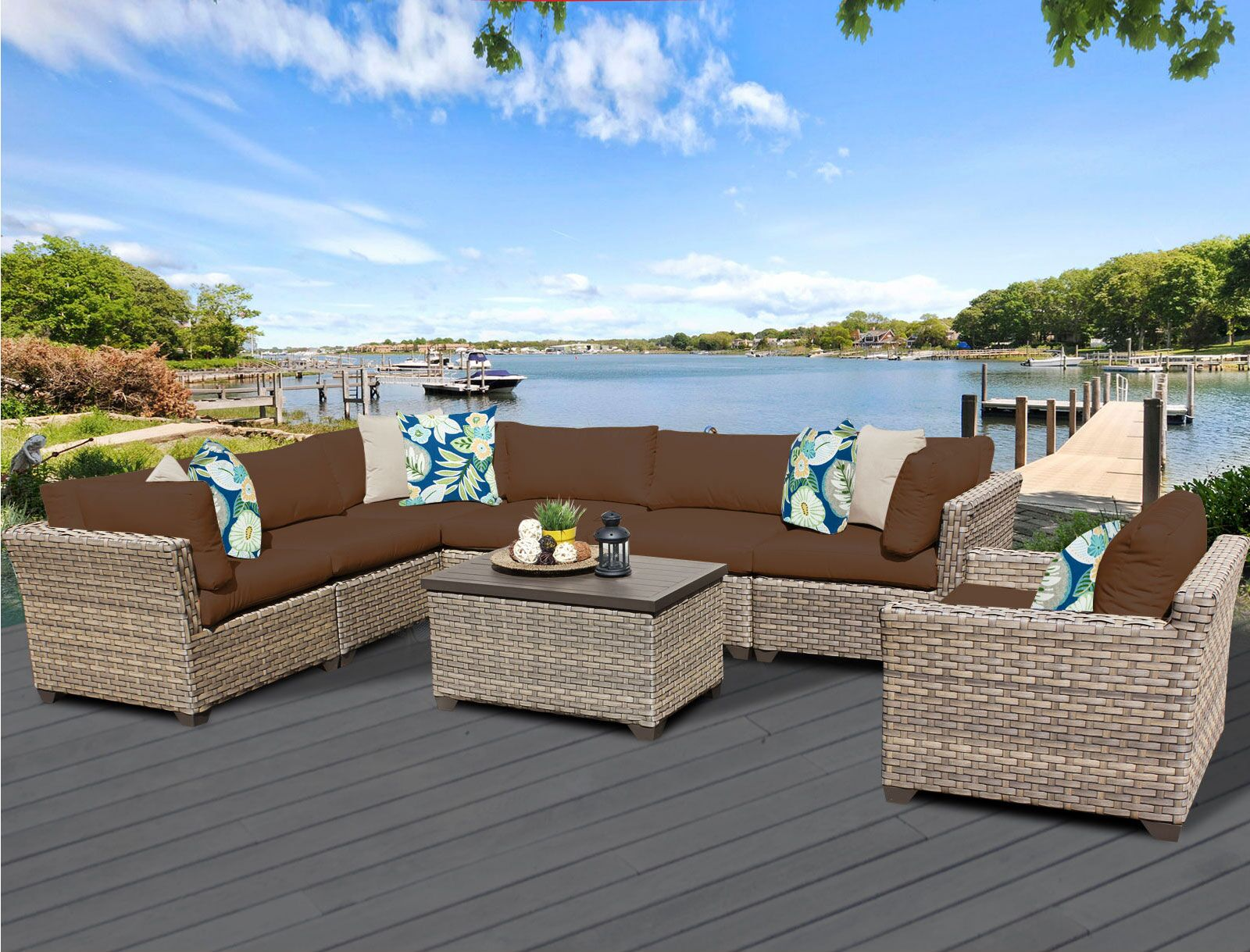 Monterey 8 Piece Sectional Set with Cushions Fabric: Cocoa