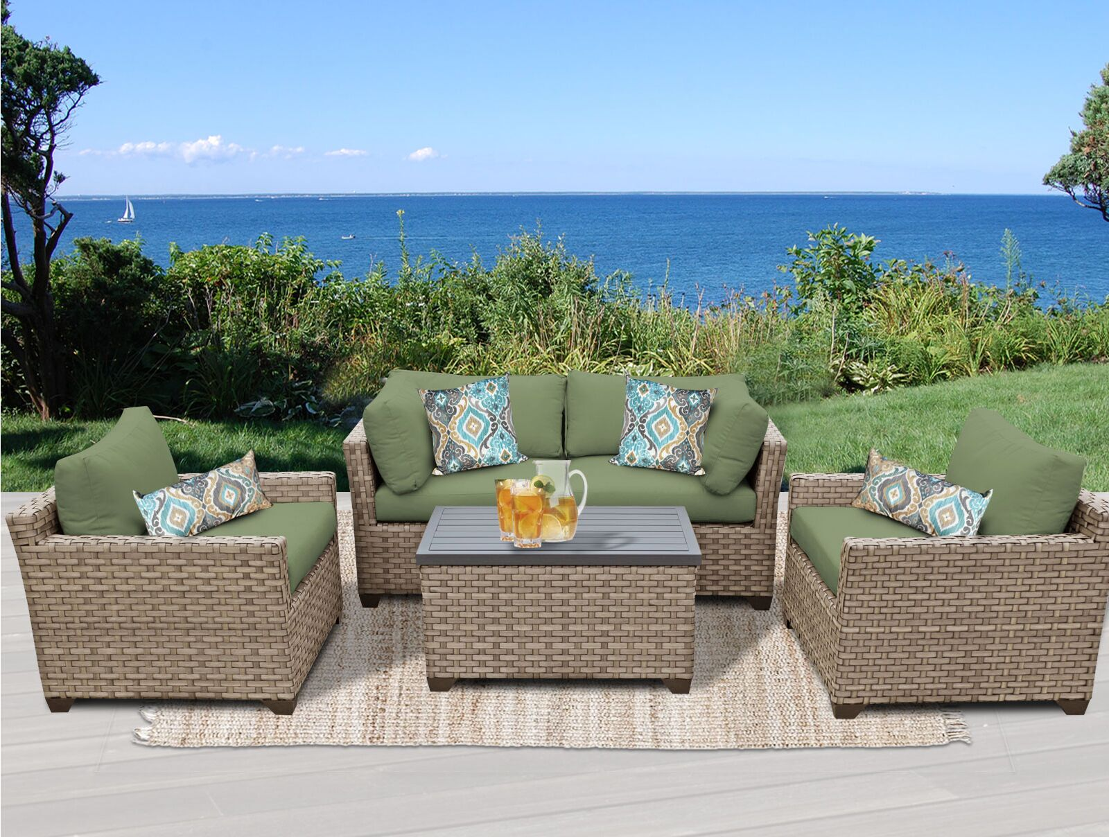 Monterey 5 Piece Sofa Set with Cushions Fabric: Cilantro