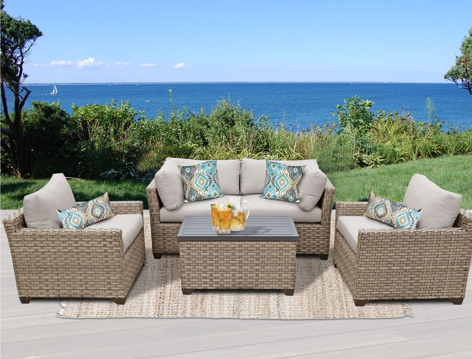 Monterey 5 Piece Sofa Set with Cushions Fabric: Beige