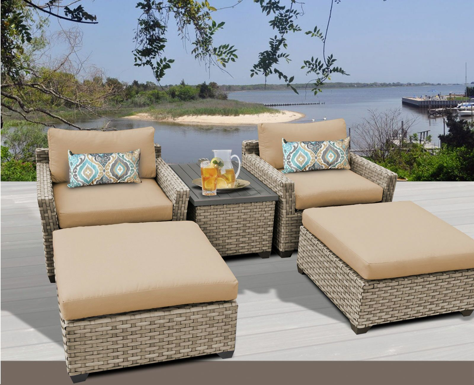 Monterey 5 Piece Conversation Set with Cushions Fabric: Wheat
