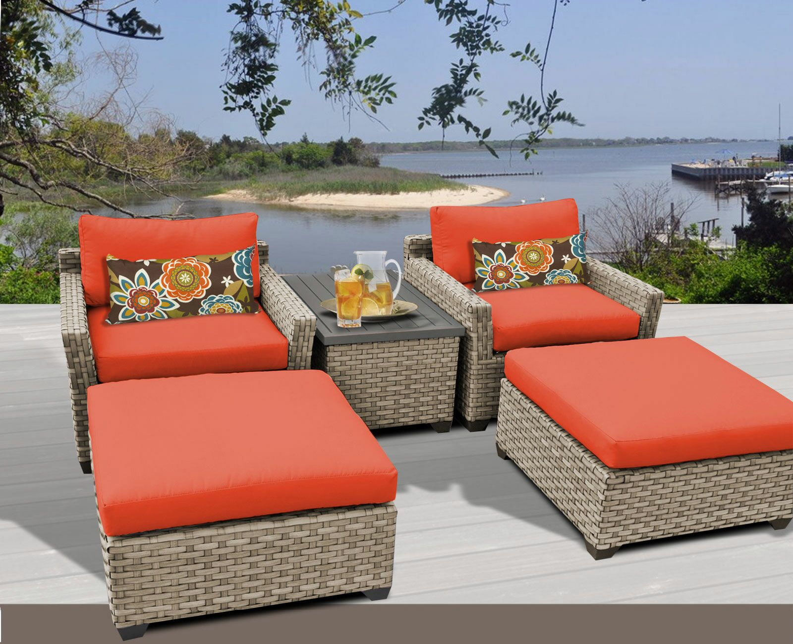 Monterey 5 Piece Conversation Set with Cushions Fabric: Tangerine