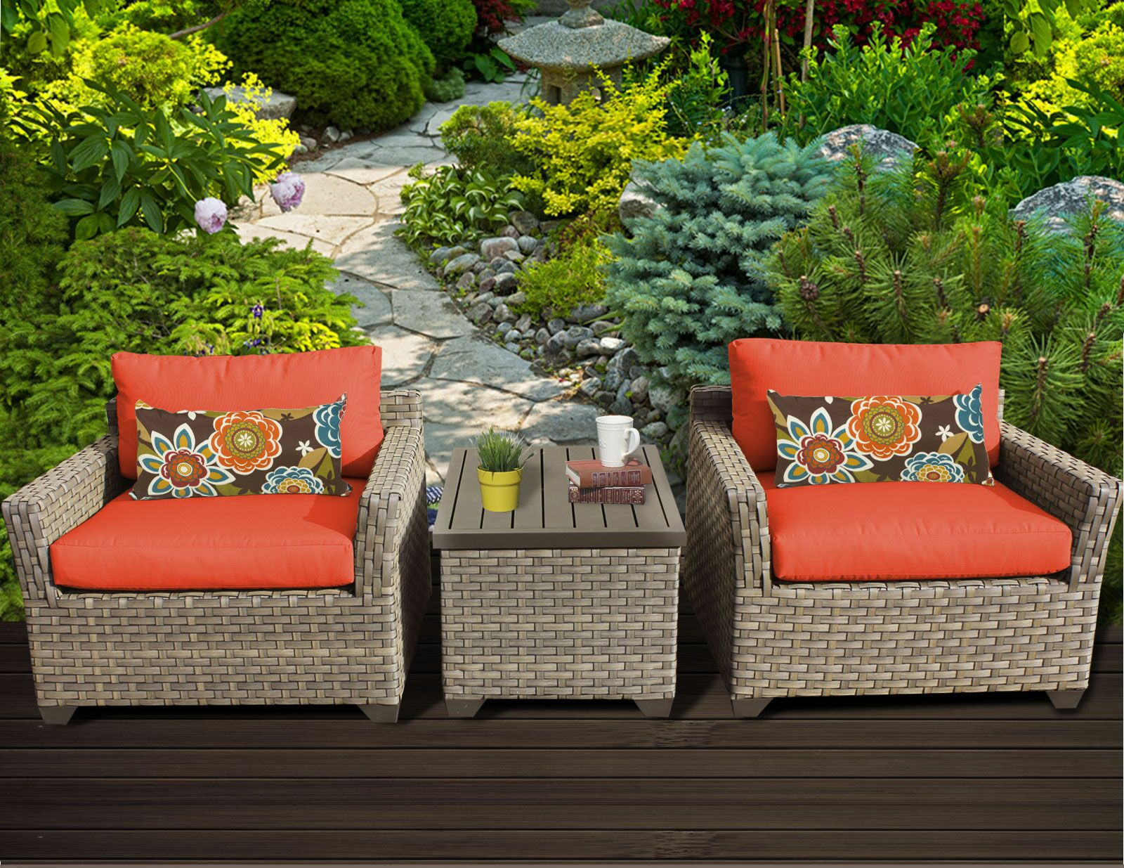 Monterey 3 Piece Conversation Set with Cushions Fabric: Tangerine