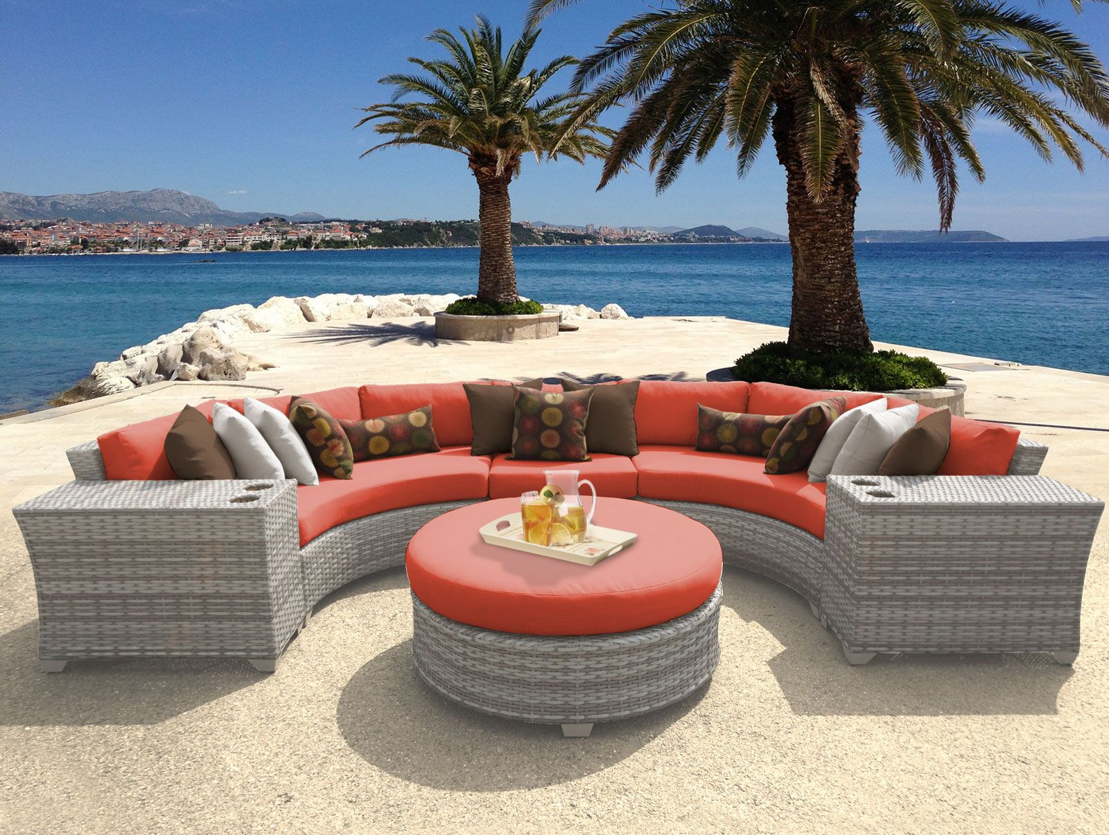 Ansonia 6 Piece Sectional Set with Cushions Color: Tangerine