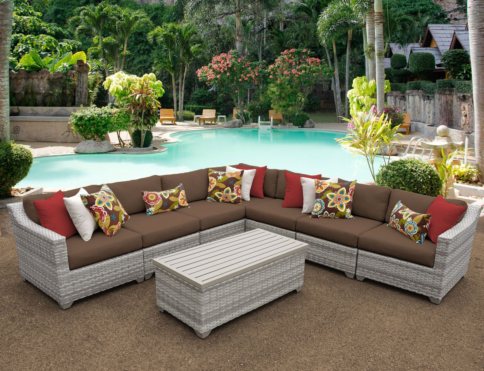 Ansonia 8 Piece Sectional Set with Cushions Color: Cocoa