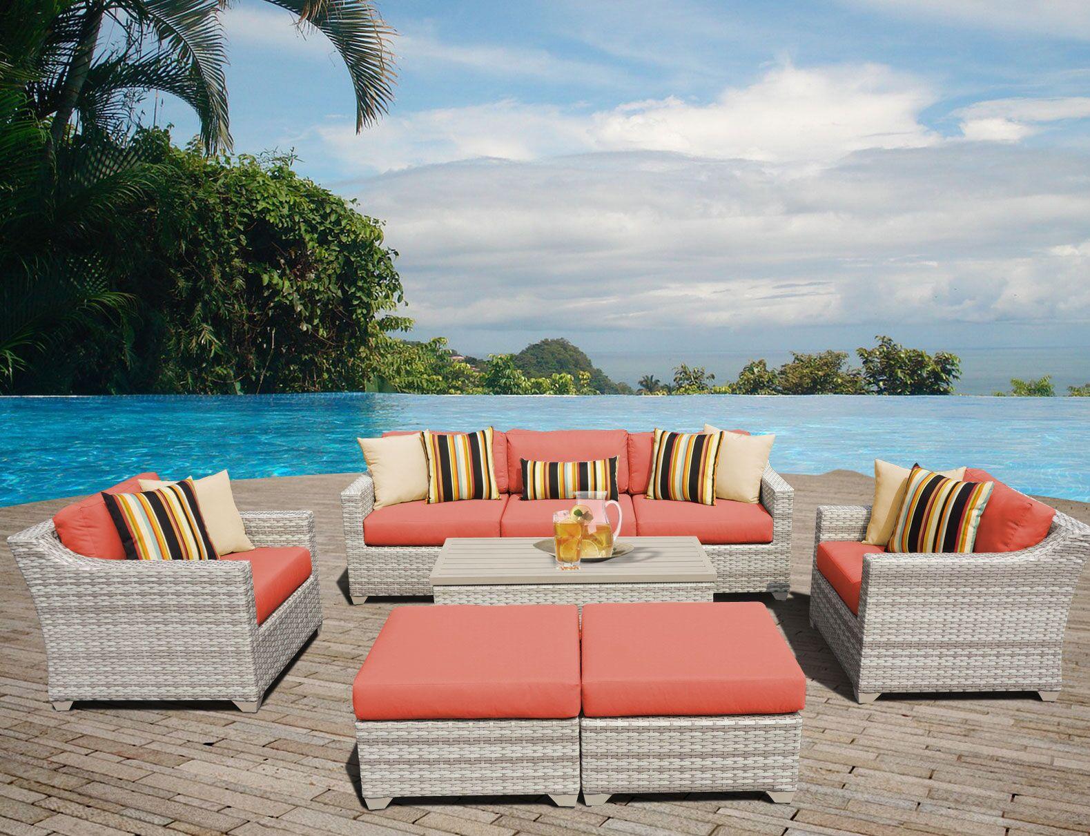 Ansonia Sofa Set with Cushions Color: Tangerine