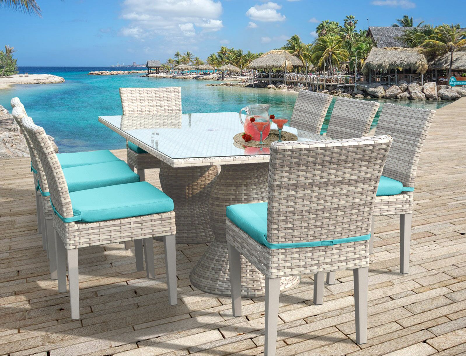 Ansonia 9 Piece Dining Set Cushion Color: Aruba