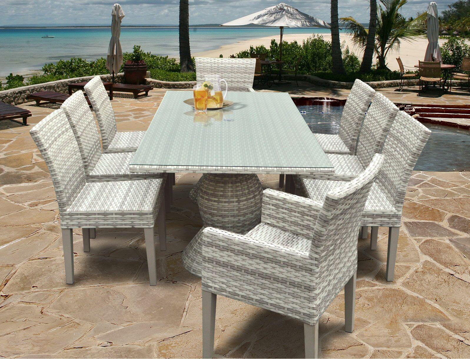 Ansonia Wicker 9 Piece Outdoor Dining Set