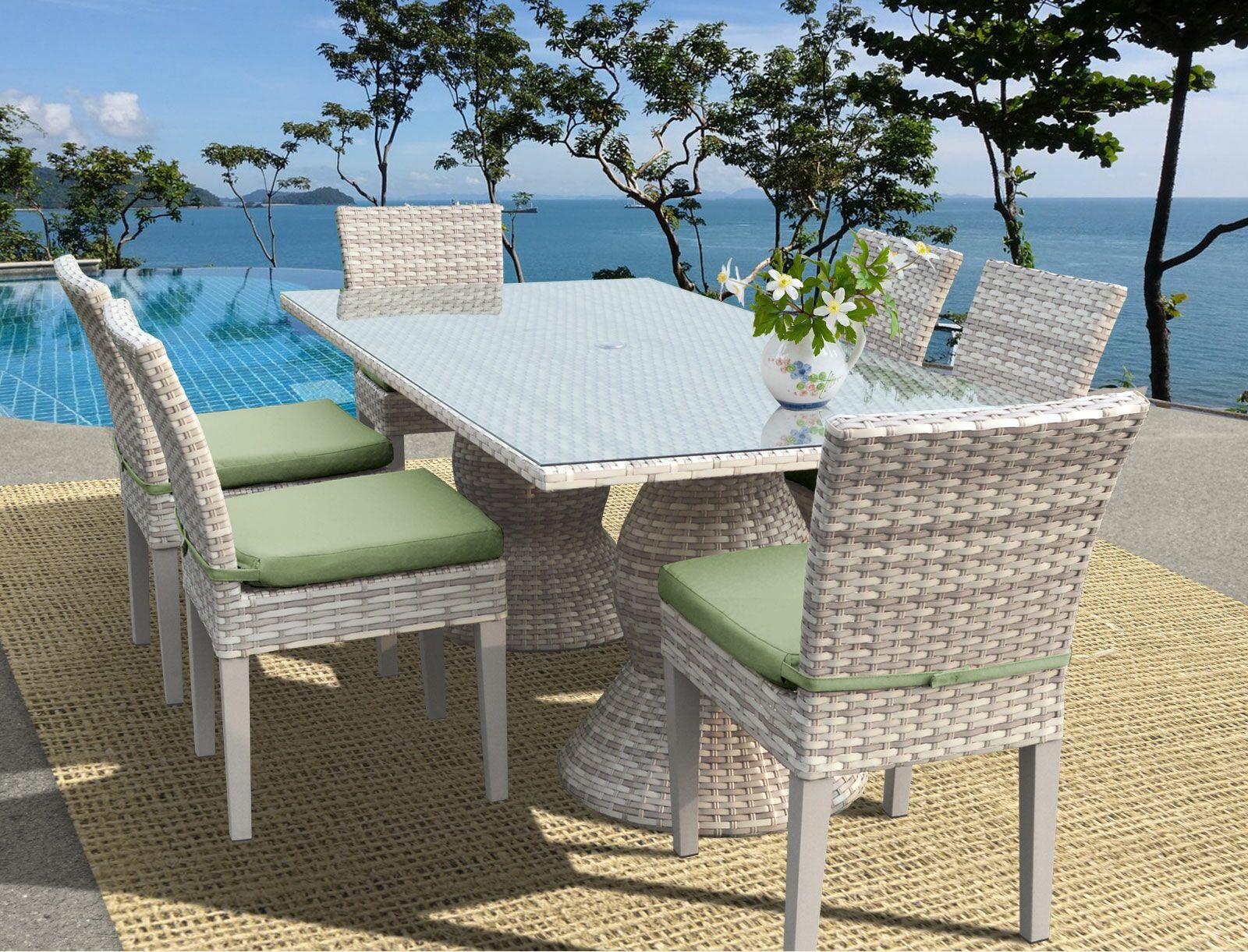 Ansonia Wicker 7 Piece Outdoor Dining Set Cushion Color: Cilantro