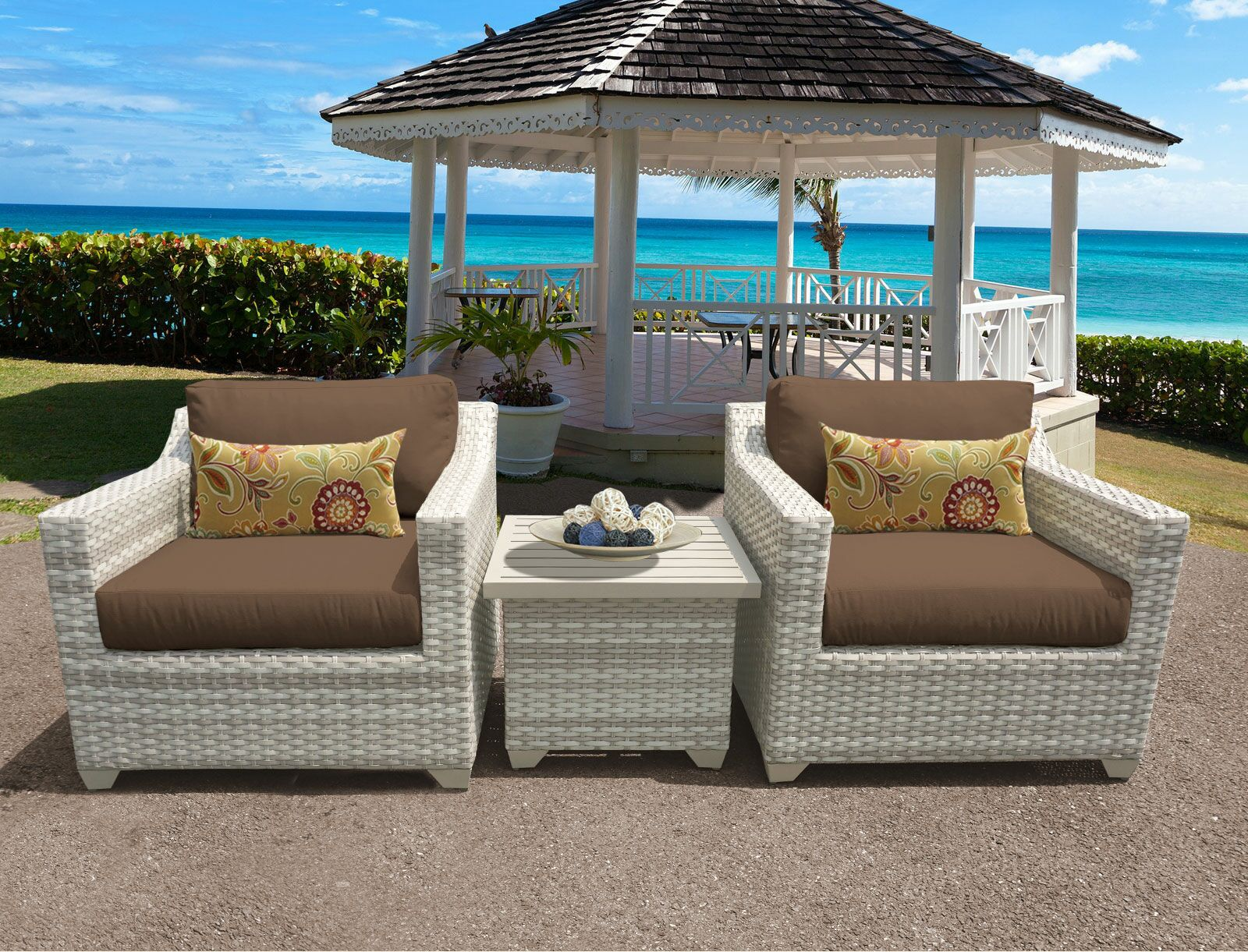 Ansonia 3 Piece Conversation Set with Cushions Color: Cocoa