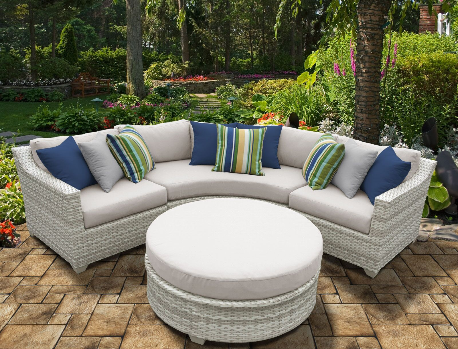 Ansonia 4 Piece Sectional Set with Cushions Color: Beige