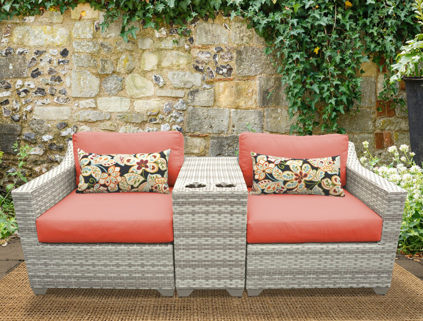 Ansonia 3 Piece Sofa Set with Cushions Color: Tangerine