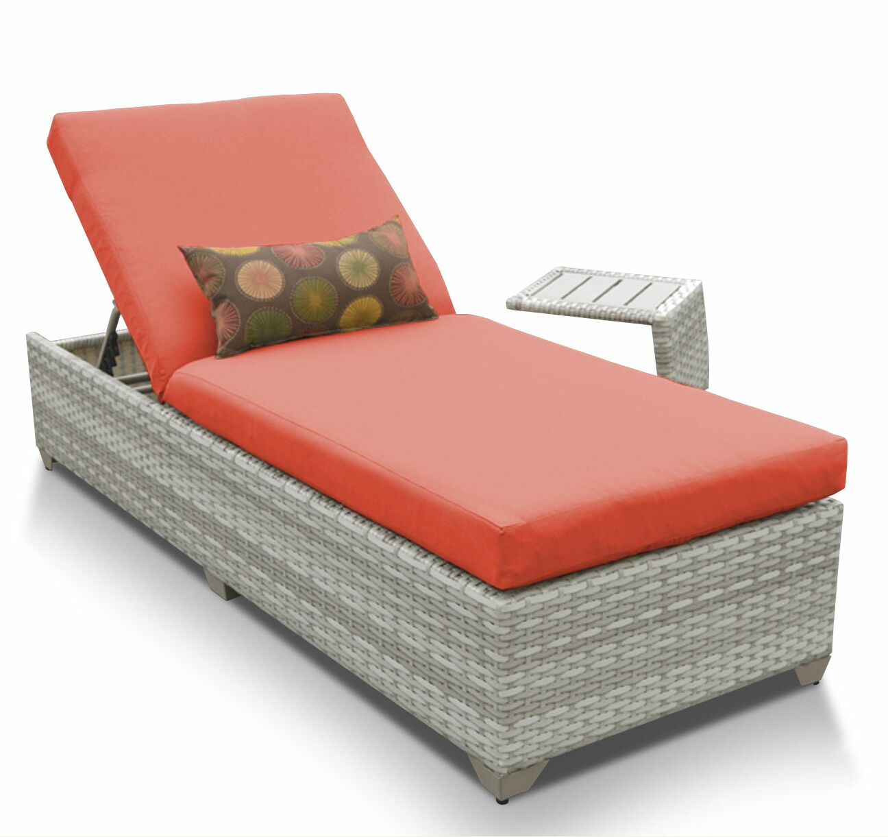 Ansonia 2 Piece Chaise Lounge Set with Cushion Color: Tangerine