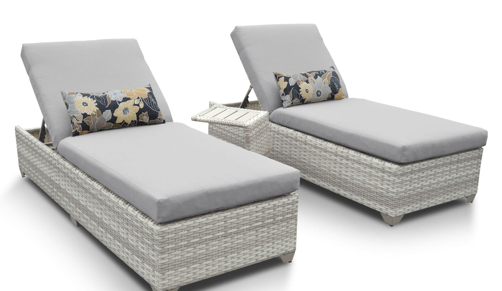 Ansonia 3 Piece Chaise Lounge Set with Cushion Color: Gray