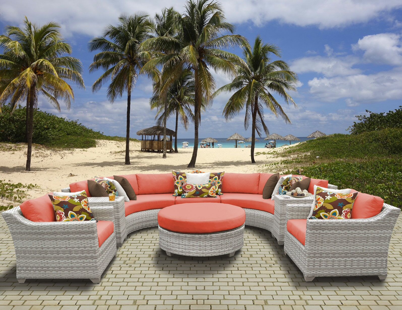 Ansonia 8 Piece Sectional Set with Cushions Color: Tangerine
