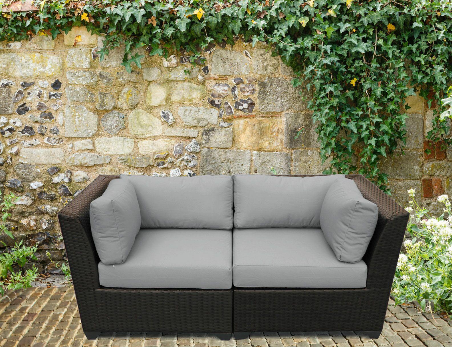 Barbados 2 Piece Conversation Set with Cushions Color: Gray