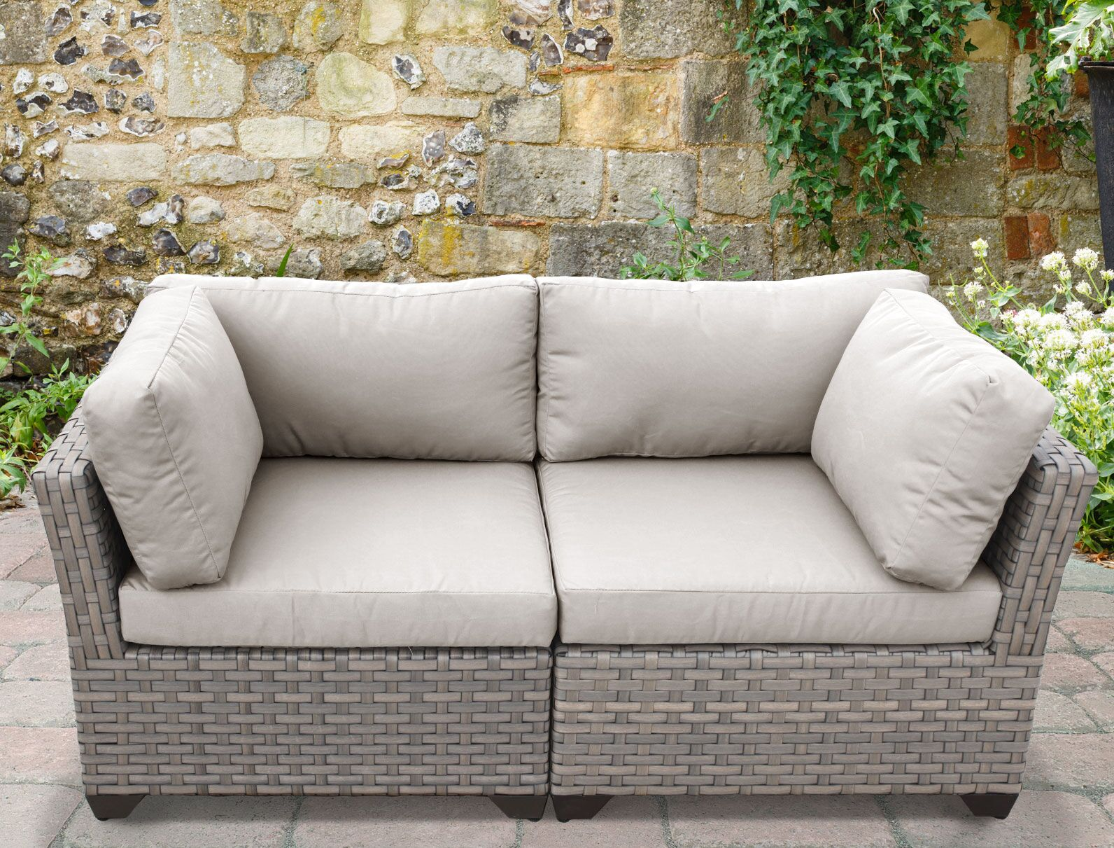 Monterey 2 Piece Conversation Set with Cushions Fabric: Beige