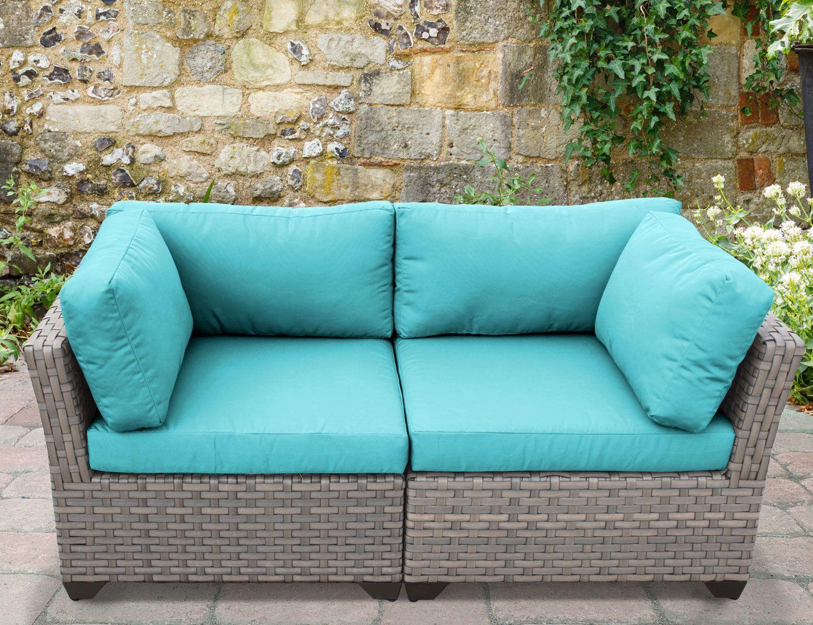Monterey 2 Piece Conversation Set with Cushions Fabric: Aruba