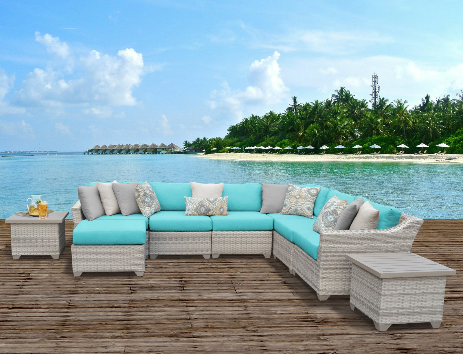 Ansonia 9 Piece Sectional Set with Cushions Color: Aruba