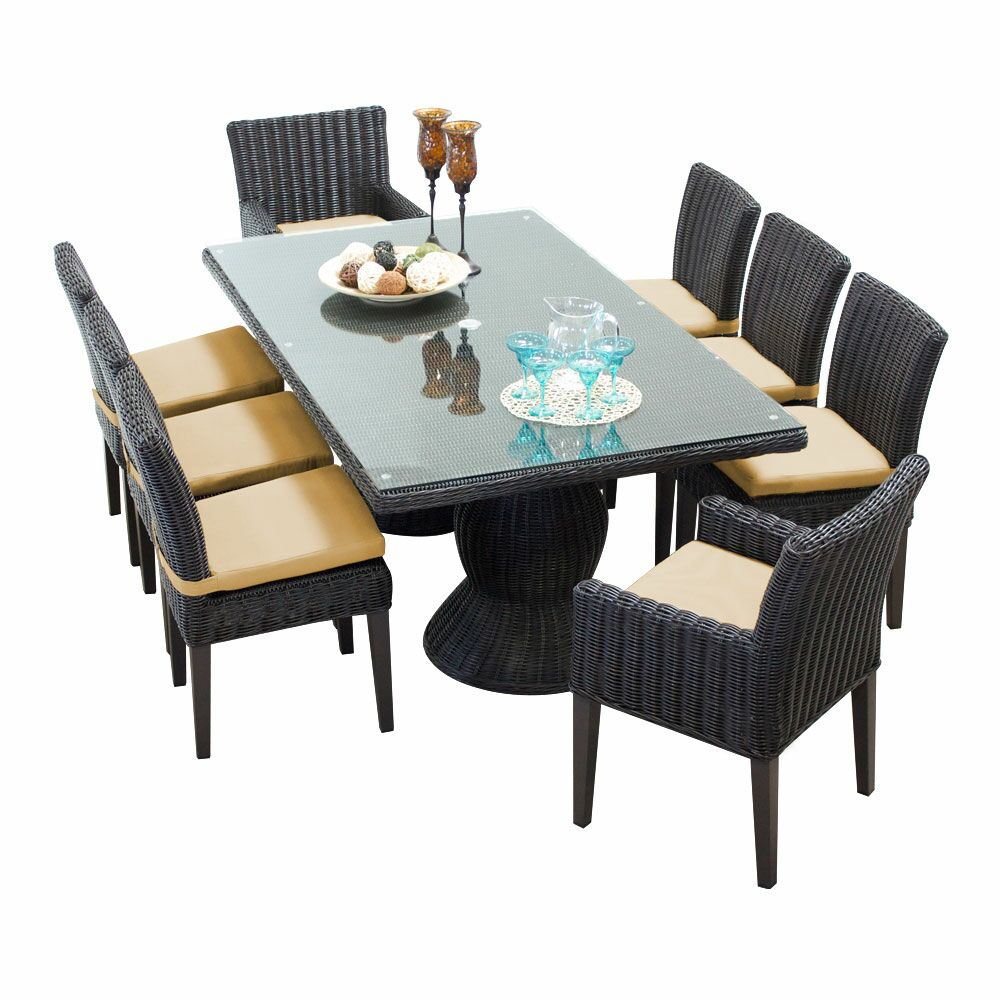 Eldredge 9 Piece Dining Set with Cushions Cushion Color: Sesame