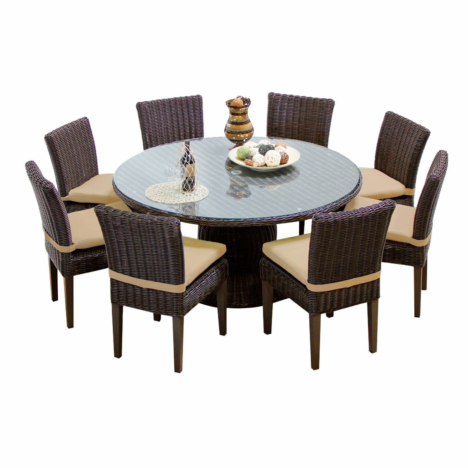 Eldredge 9 Piece Dining Set with Cushions Color: Wheat