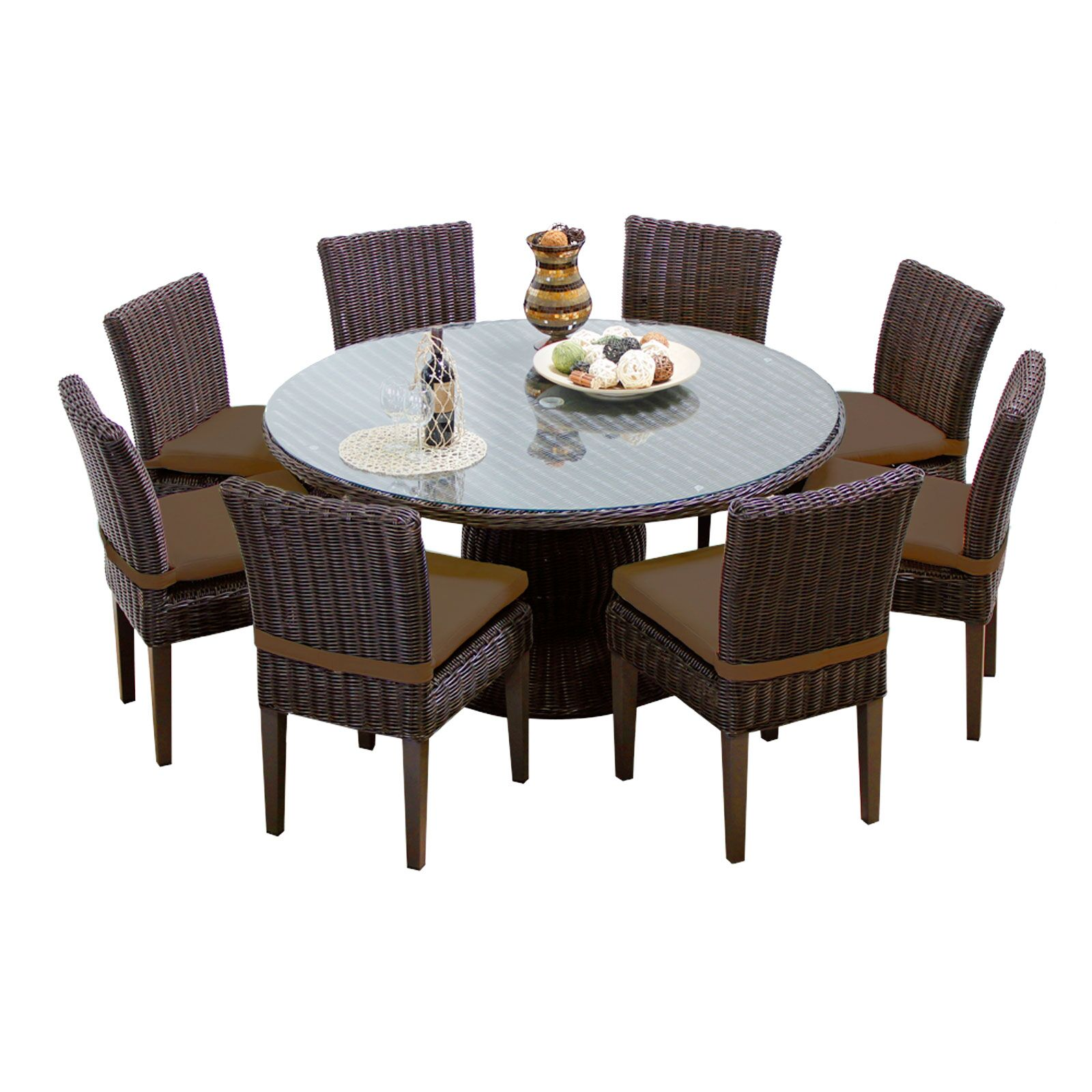 Eldredge 9 Piece Dining Set with Cushions Color: Cocoa