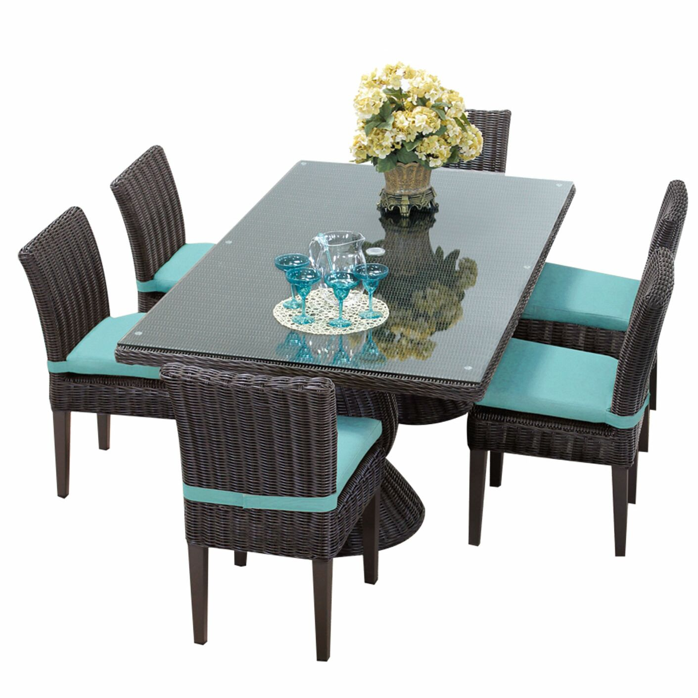 Eldredge 7 Piece Dining Set with Cushions Cushion Color: Aruba