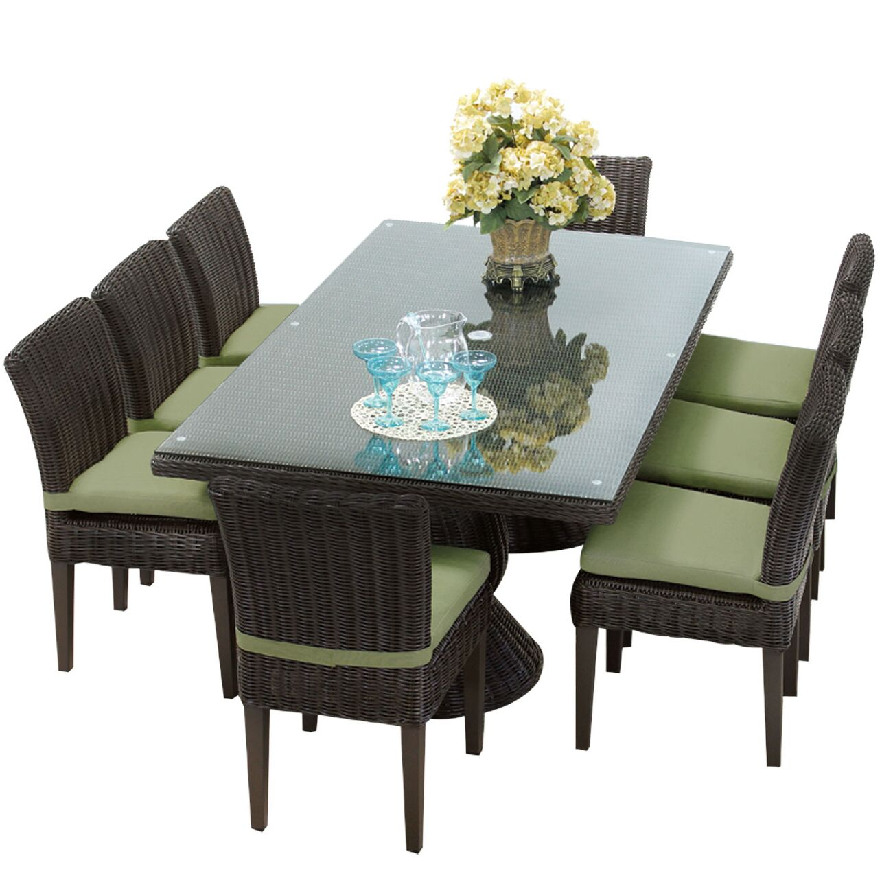 Eldredge 9 Piece Dining Set with Cushions Cushion Color: Cilantro