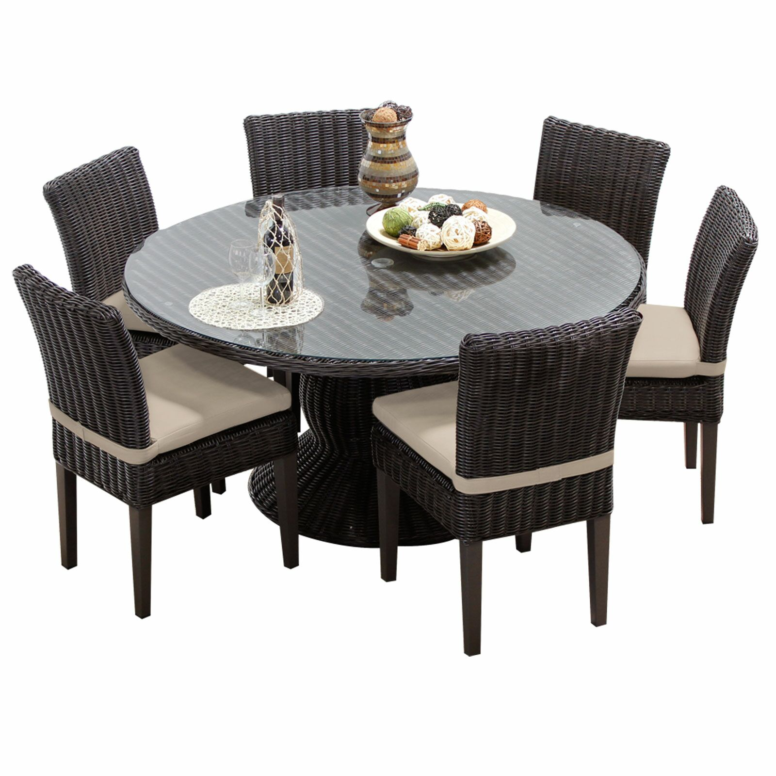 Eldredge 7 Piece Dining Set with Cushions Color: Beige