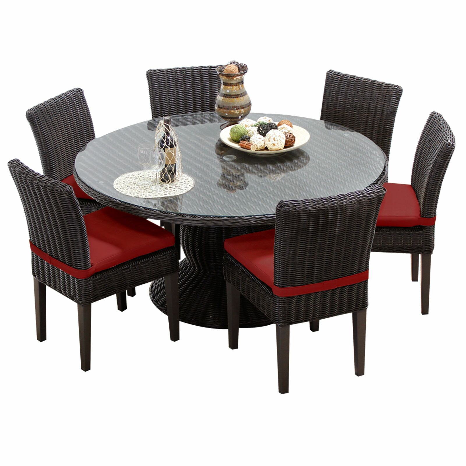 Eldredge 7 Piece Dining Set with Cushions Color: Terracotta