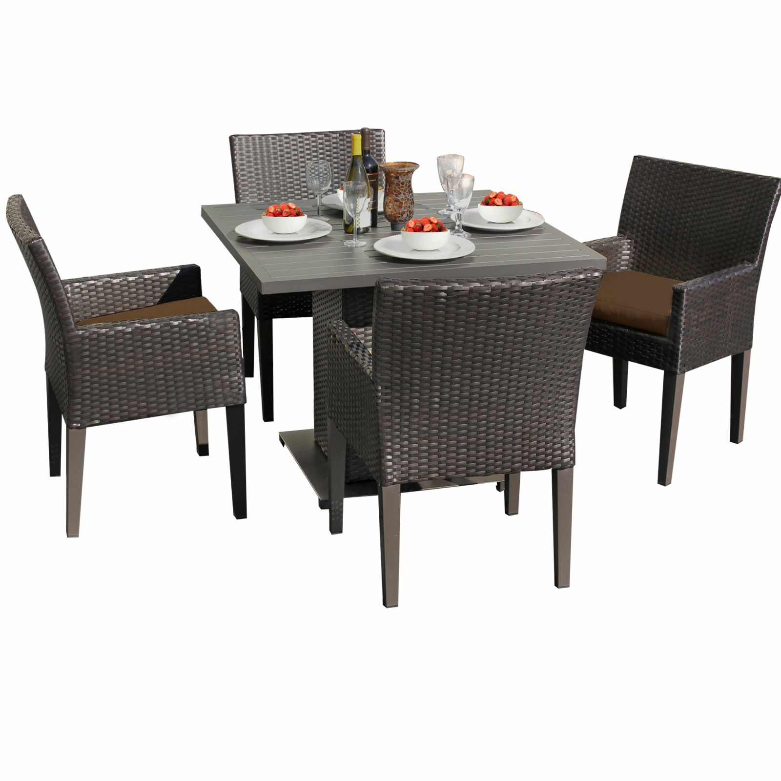 Napa 5 Piece Dining Set with Cushions Color: Wheat