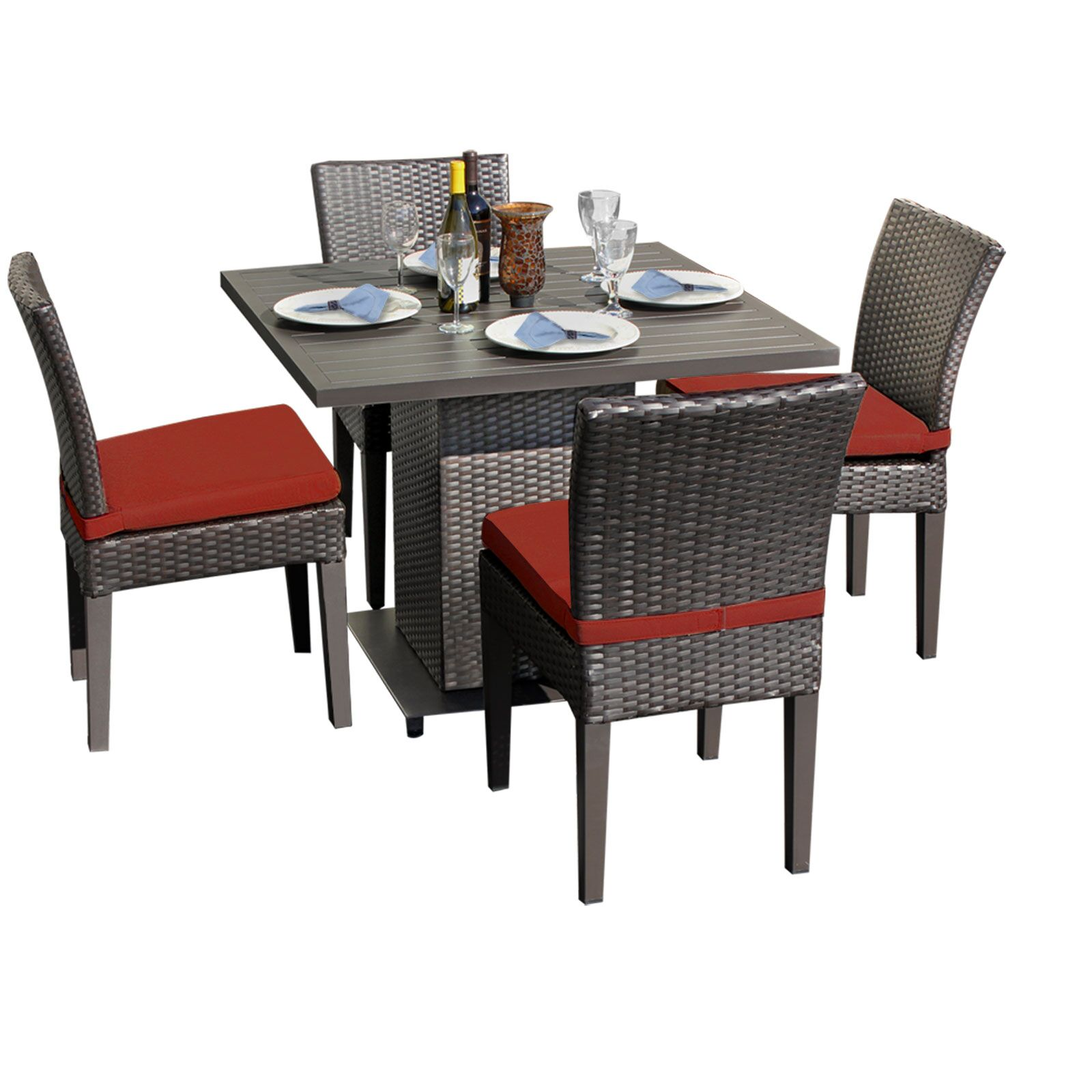 Napa 5 Piece Dining Set with Cushions Color: Terracotta
