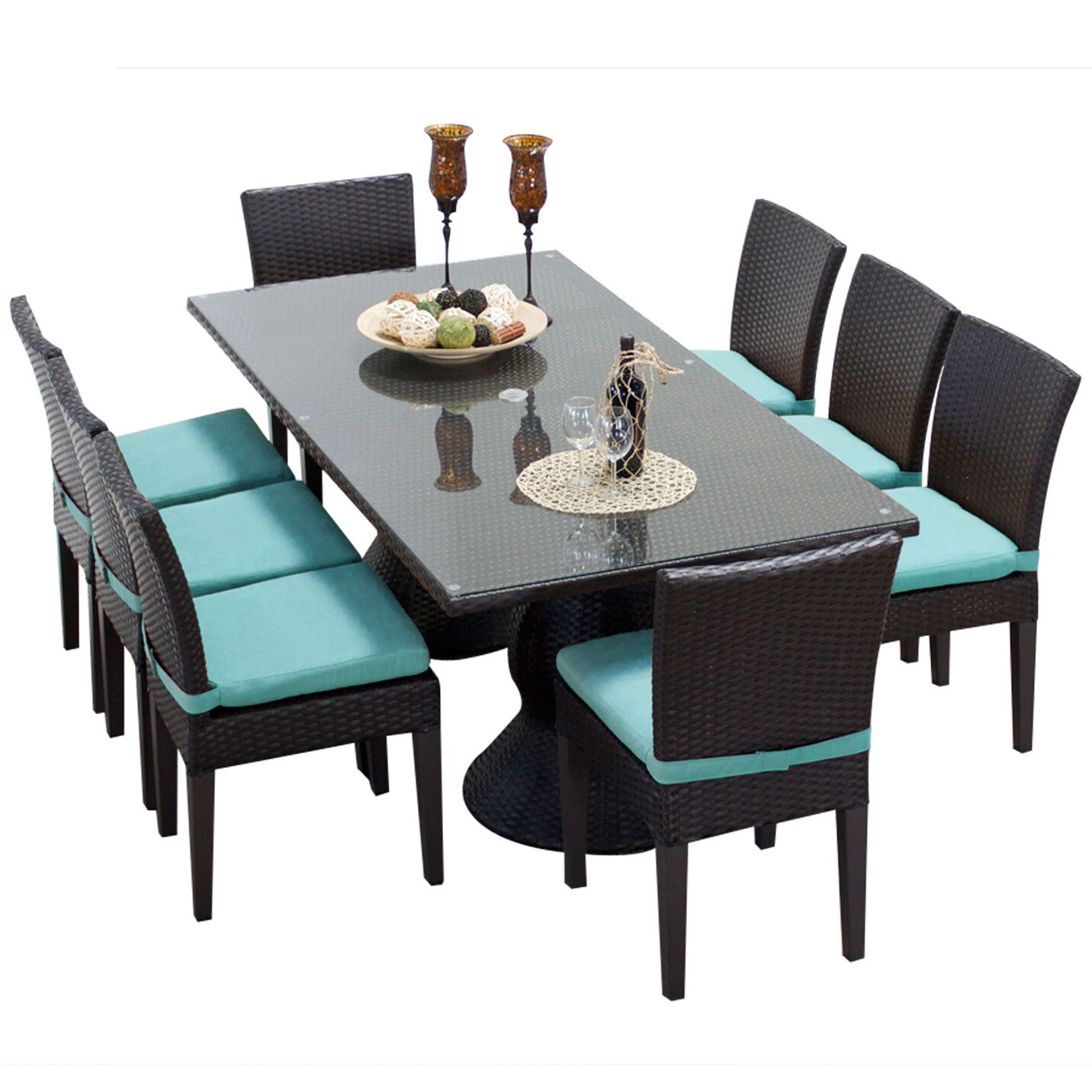 Napa 9 Piece Dining Set with Cushions Cushion Color: Aruba