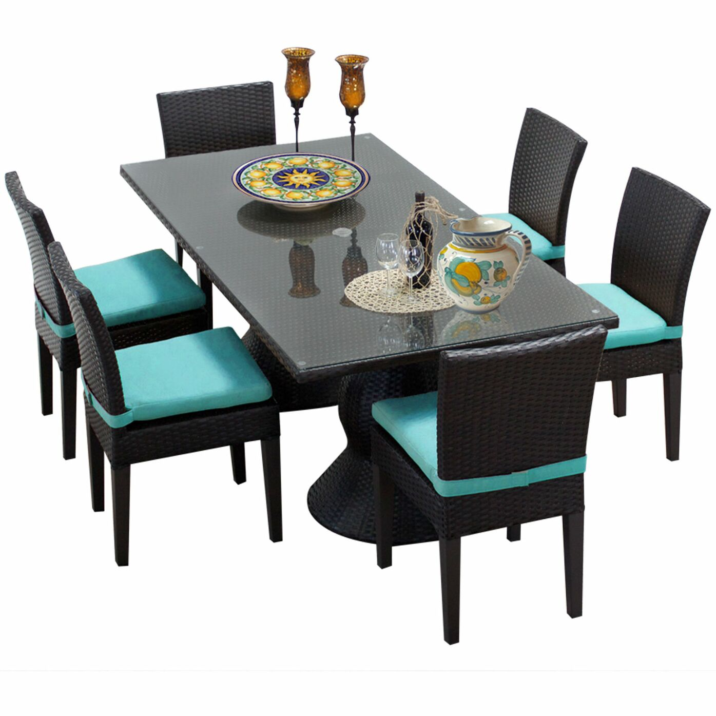 Napa 7 Piece Dining Set with Cushions Cushion Color: Aruba