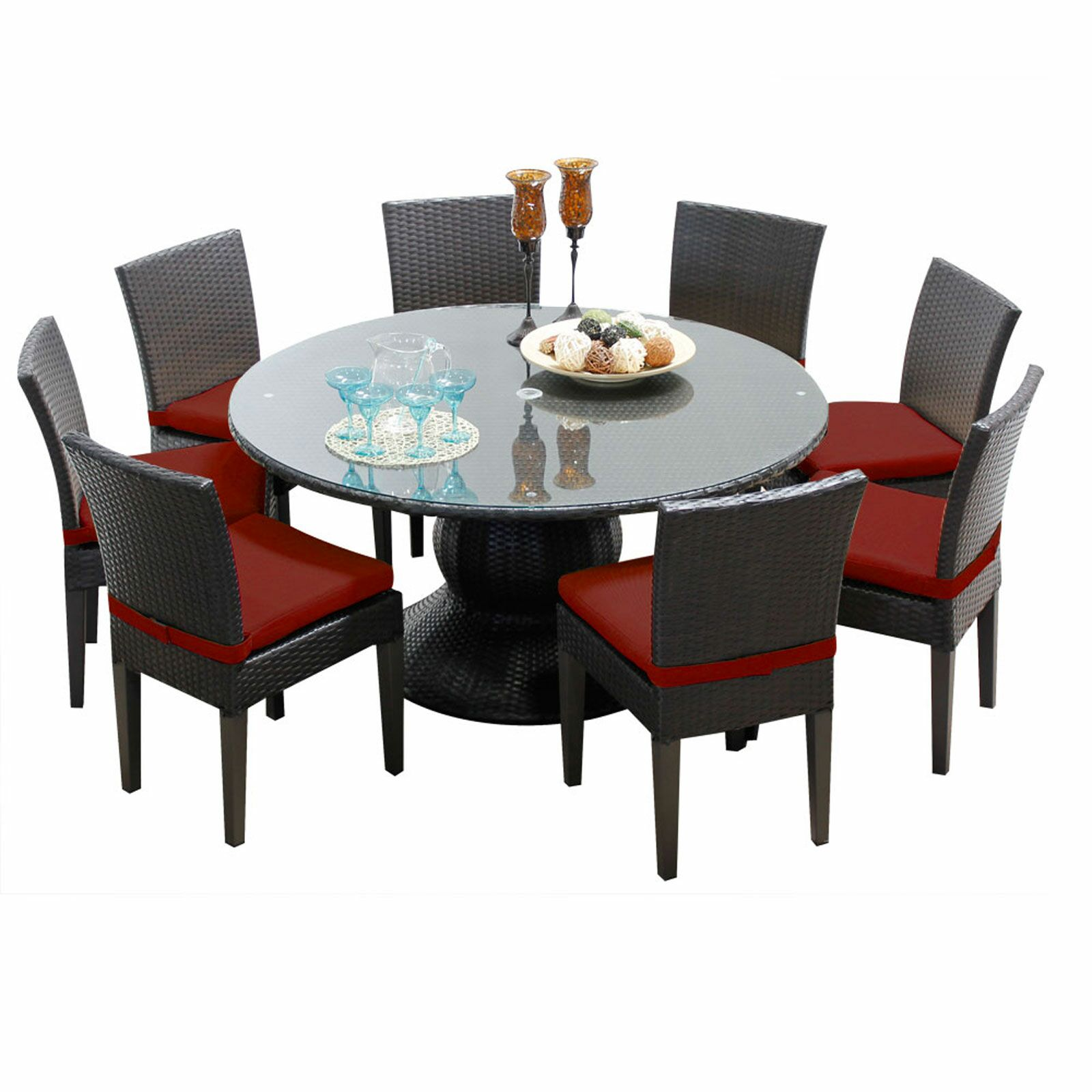 Napa 9 Piece Dining Set with Cushions Color: Terracotta