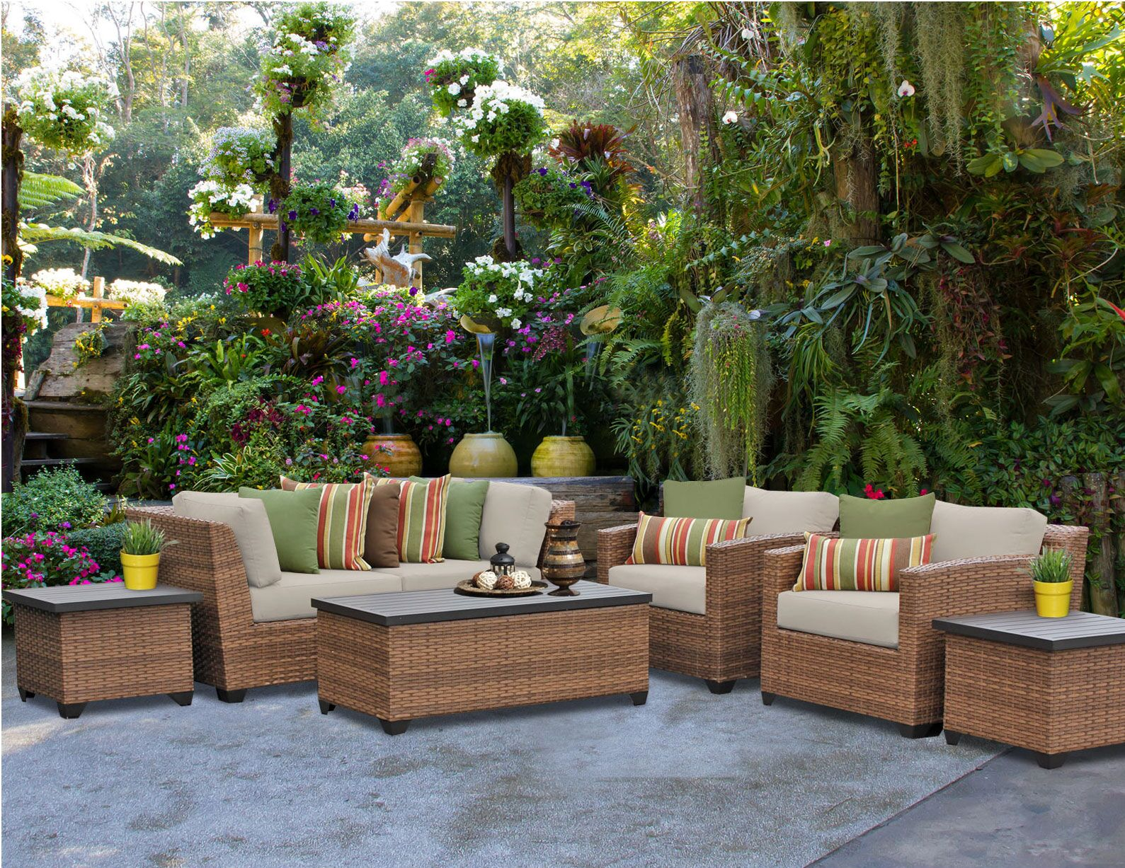 Asellus 7 Piece Rattan Sectional Set with Cushions Color: Beige