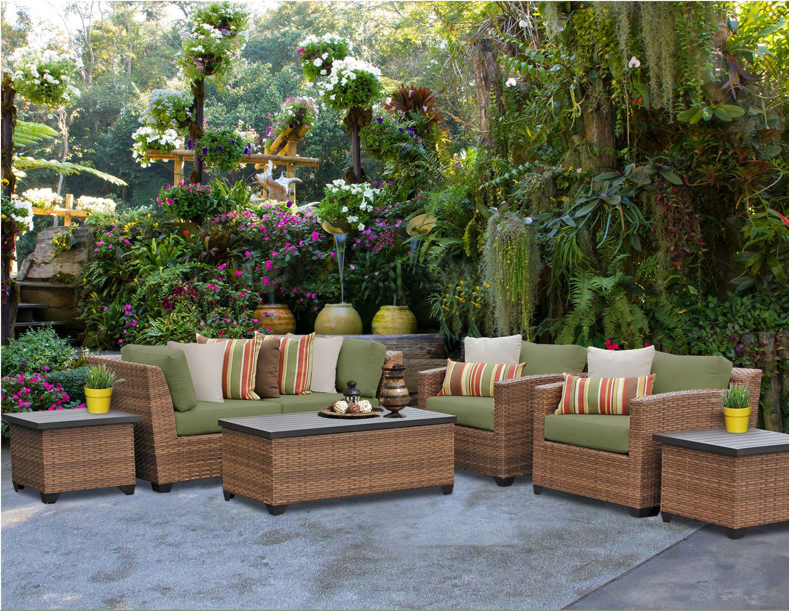 Asellus 7 Piece Rattan Sectional Set with Cushions Color: Cilantro