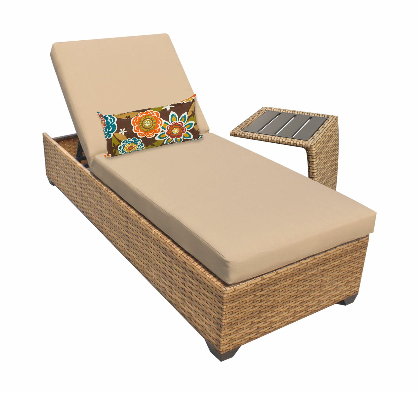 Asellus Chaise Lounge with Cushion and Table Color: Wheat